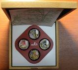 Набор монет 2 доллара 2011 год. Год Кролика. О-ва Кука. Серебро 999 пробы.Общий вес 4-х штук: 80 гр.