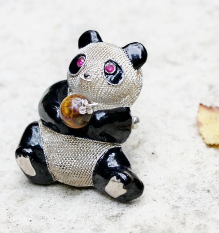 """Винтажная серебряная брошь """"Панда"""" экспортный Китай"""