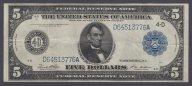 США, 5 долларов, 1914 год, 4-й банк, Блок D-A, СОСТОЯНИЕ! aXF+