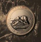 "Серебряная монета 8 долларов 2013 г. ""Полярный медведь"", 1,5 oz, Ag9999, С РУБЛЯ!"