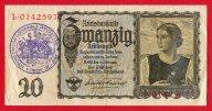 20 Рейхсмарок 1939 год. Выпуски рейхсбанкнот (Reichsbanknote). Штемпель. Германия. Редкость!