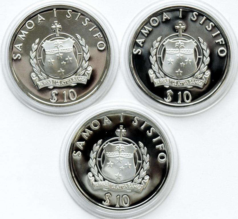 3 монеты: 10 долларов 1992,1993,1994 год. Олимпиада.. Самоа. Серебро!