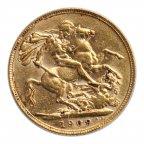 Соверен 1909 год. Эдуард 7. Золото 0.917 проба. 8 грамм.