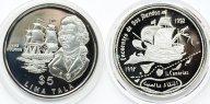 2 монеты: 500 Песет 1992 год. САДР. 5 долларов 1989 год. Токелау. Серебро!