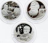 3 монеты: 2 рубля 2006-2007 год. Серебро 925. 15.55 грамм. Бехтерев, Шостакович, Королев.