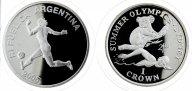 2 монеты: 5 Песо 2005. Аргентина. 1 Крона 1999 год. Олимпиада 2000.Сидней. Гибралтар. Серебро!