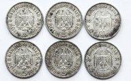 6 монет: 5 марок 1935-1936 годов. Серебро 83.3 грамма.