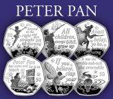 UNC: Питер Пен - набор 6 х 50 пенсов 2019 г. о-в Мэн / 50 пенсов Мэн 2019 Питер Пэн
