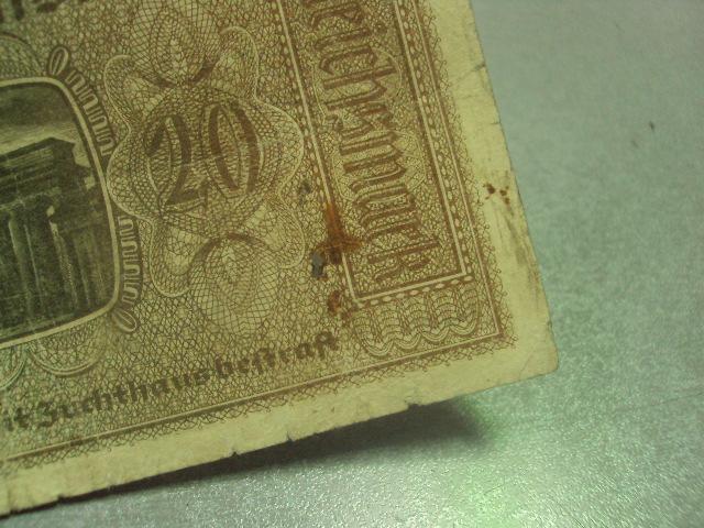 банкнота 20 марок 1939 германия №203