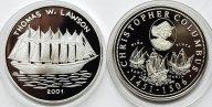 2 монеты: 150 Шиллингов 2000 год. Сомали. 1000 Франков 2001 год. Конго. Серебро