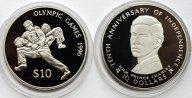 2 монеты: 10 долларов 1980 год. 10 долларов 1993 год. Олимпийские игры 1996 года. Фиджи. Серебро!