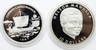 2 монеты: 10 долларов 2001 год. Либерия. 1000 Франков 1997 год. Парусное судно. Конго. Серебро!