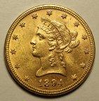 10 Долларов 1894 год. США. Золото 900 пробы - 16.73 грамм. Редкая!!!
