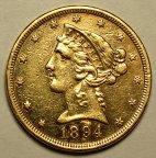 5 Долларов 1894 год. США. Золото 900 пробы - 8.359 грамм. Редкая!!!