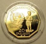 20 Эмаланге́ни 1974 год. Королевство Свазиленд. Золото 900 пробы - 22.33 грамма.