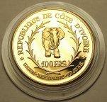 100 Франков 1966 год. Государство Кот-д'Ивуар. Золото 900 пробы - 32 грамма.