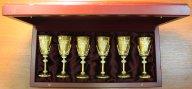 Серебряные фужеры в позолоте с гравировкой. Ручная работа. 6 шт. Серебро 925/24 Карата. Вес: 815.3г.