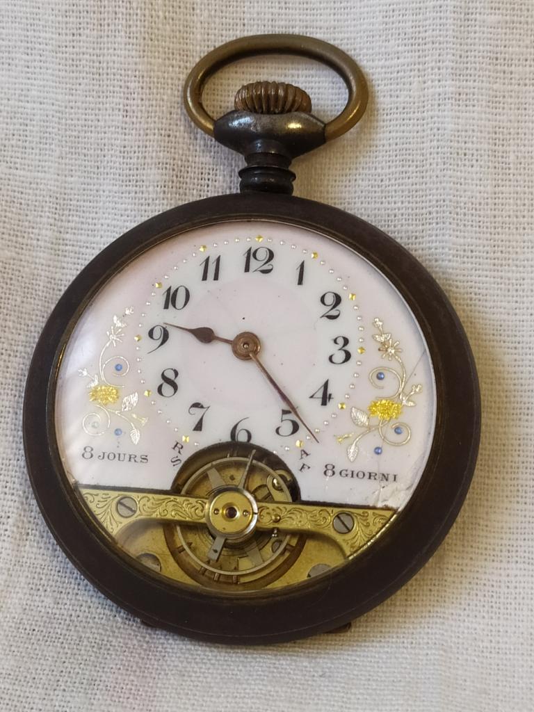 8-ми дневные карманные часы.  BREVETS. Открытый маятник. Механизм исправен. Идут 6 дней!