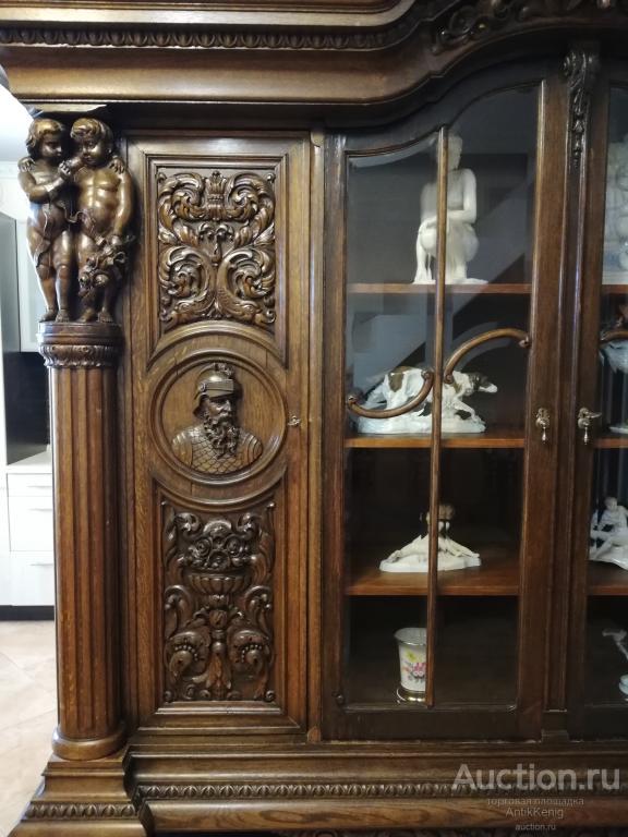 Книжный шкаф 19 век Германия Дуб Резьба