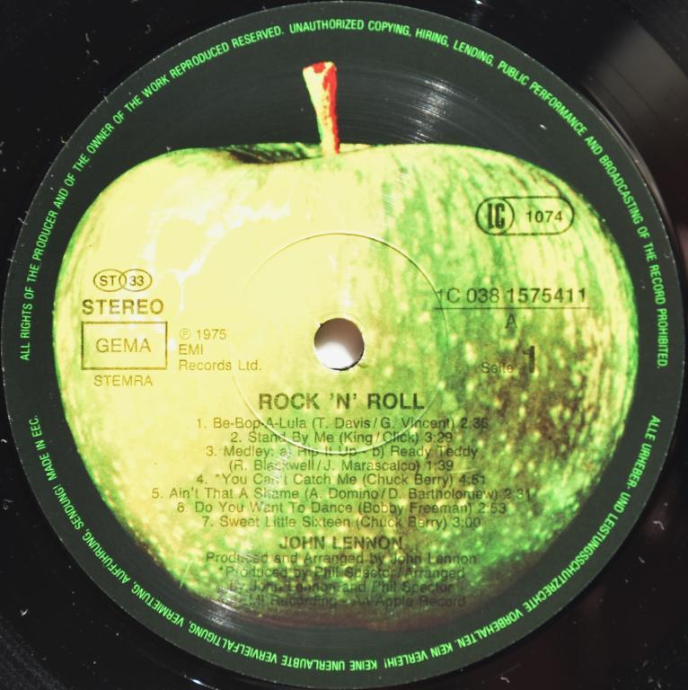 "John Lennon (The Beatles) ""Rock 'N' Roll"" 1975/1985 Lp"
