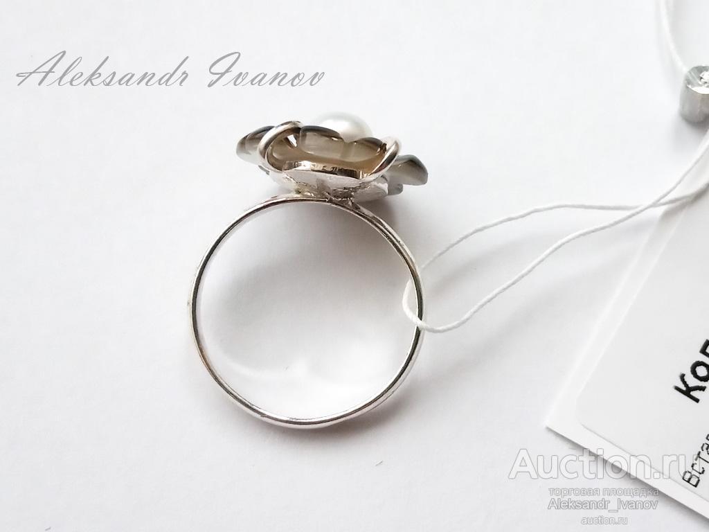 Кольцо серебряное 925 пробы, вставка культ. жемчуг, синт. перламутр, 16 размер; новое