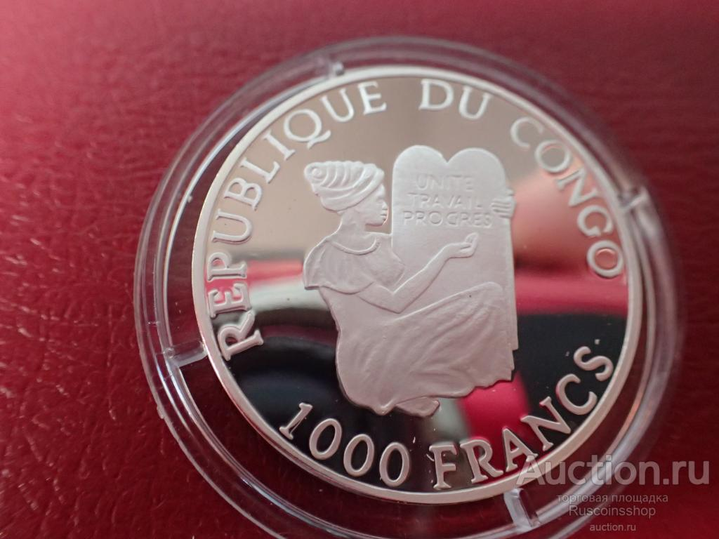 Конго 1000 франков  2005 ПРУФ. ЛАСТОЧКА  .ФАУНА.  Дост до 1,5 месяца ОРИГИНАЛ СЕРЕБРО/ Z 23