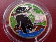 Северная  Корея 100 вон 1999 Черный медведь цветная , Дост до 1,5 месяца ОРИГИНАЛ  СЕРЕБРО / Z 33