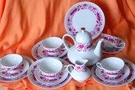 красивый Чайный Кофейный сервиз на 5 персон Германия тончайший фарфор клеймо Бавария Edelstein