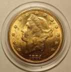 20 Долларов 1884 год. США. Золото 900 пробы - 33.34 грамма. Штемпельный блеск. Редкость!