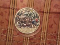 """Острова Кука, 2012г.,  5 долларов, """"Новый год, дед Мороз"""" серебро, пруф, цветная эмаль."""
