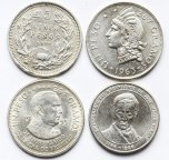 4 монеты: 1 песо 1955, 1963 год. Доминикана. 5 песо 1927, Чили. 100 боливар 1986 год. Серебро 110гр