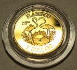 2 доллара 1995 год. Фламинго. Багамские Острова. Золото 999.9 пробы - 3.11 гр. (1/10 oz). Редкая!!!