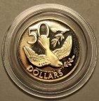 50 долларов 1980 год. Рождественский голубь. Виргинские Острова. Золото 500 пробы - 2.68 гр. Редкая!