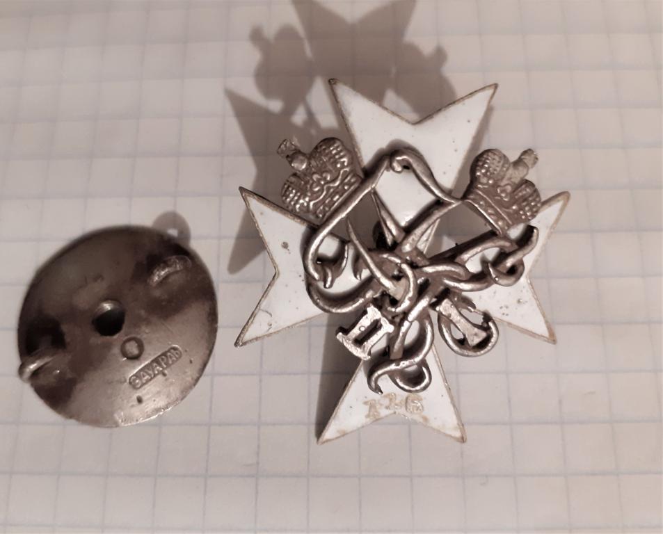 Полковой знак 116-го пехотного Малоярославского полка для высших чинов. Горячая эмаль. Серебро.
