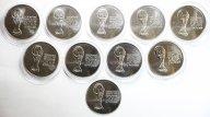 10 монет: 3 рубля 2018 года. ЧМ по футболу 2018. Серебро 999. 31.1 грамм каждая.
