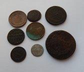 Гривенник 1770 г. СПБ. +7шт медных монет