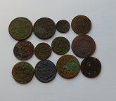 1 копейка 1705 г. МД. +8шт медных монет