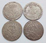 4 редкие монеты: 6 грошей 1756 А, 6 грошей 1756 В, 6 грошей 1757 С, 6 грошей 1756 без букв оригинал!