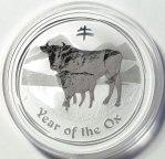 Австралия Бык Год Быка Лунар Лунный календарь серебро 999 пробы унция 2009 год 1 доллар