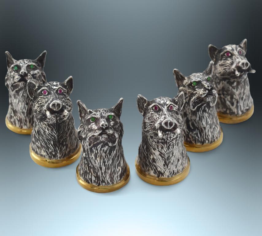 Стопки-перевертыши с головами животных, серебро, РУЧНАЯ РАБОТА!