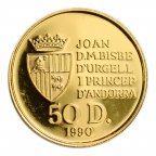 50 динар 1990 год. Андорра. Золото 999. 15.5 грамм. Редкая! тираж 2500.