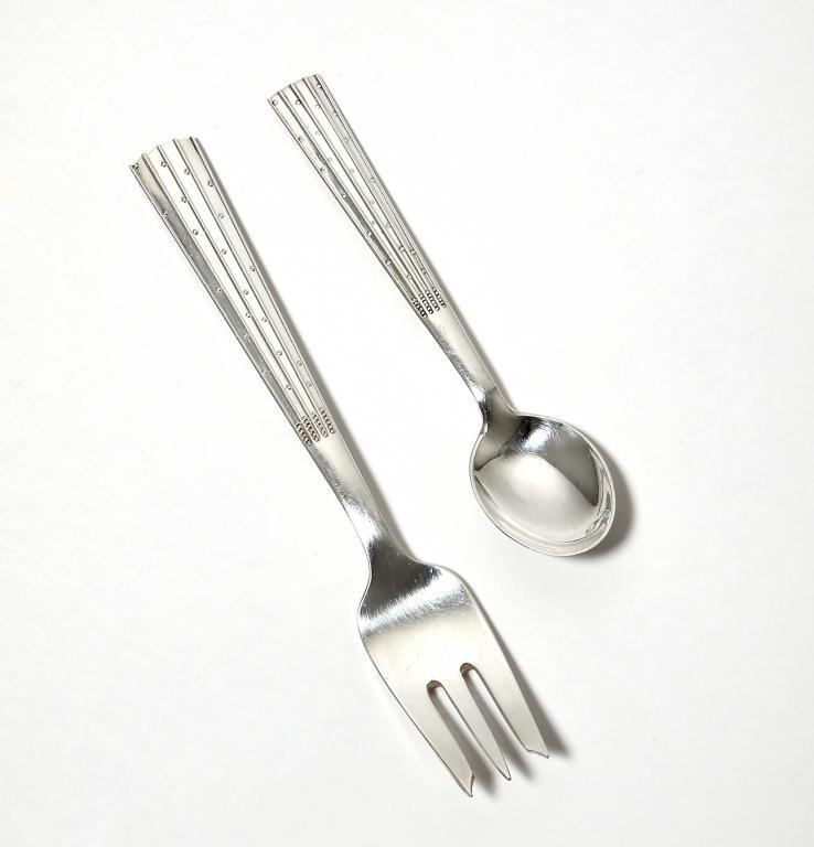 Серебряная чайная ложка и десертная вилка, Дания.