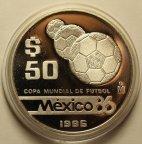50 Песо 1986 год. Чемпионат мира по футболу 1986 года в Мексике. Мячи. Серебро!