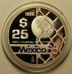 25 Песо 1986 год. Чемпионат мира по футболу 1986 года в Мексике. Мяч в воротах. Мексика. Серебро!