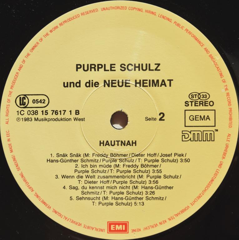 """Purple Schulz & Die Neue Heimat """"Hautnah"""" 1983 Lp"""