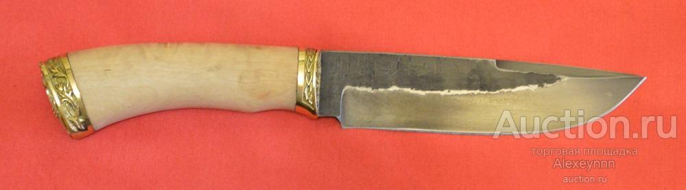 """Нож охотничий """"Горец"""". Сталь кованая 9ХС. 4,8 мм!! Карельская береза, герб ФСБ! С рубля!"""