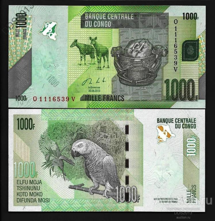 Конго 1000 франков 2013 года   P-101b   UNC
