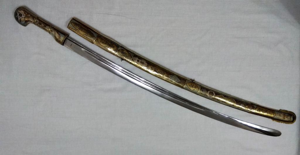 ШЕДЕВР! Серебряная шашка, сабля в эмалях Позолота, чернь, резьба, штихель. Достойна музея