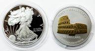 2 монеты: 10 долларов 2004 Науру, 1 доллар 2005 США. Серебро.