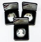 3 монеты: 1 доллар 2009-2010 год. США. Линкольн, Ветераны, Брайль, Луи. Серебро 900. 26.73 гр.